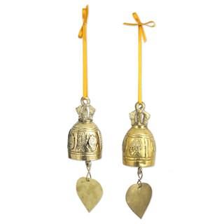 Handmade Pair of Brass Ornaments, Buddhist Bells (Thailand)