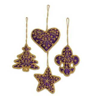 Handmade Set of 4 Beaded Ornaments, Purple Christmas (India)