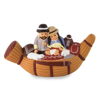 Handmade Ceramic Nativity Scene, Bethlehem In A Reed Boat (Peru)