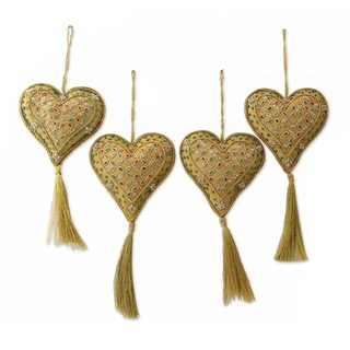 Handmade Set of 4 Beaded Ornaments, Heart of The Holiday (India)