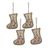 Handmade Set of 4 Beaded Cotton Ornaments, Celebration Stockings (India)