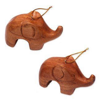 Pair of Wood Ornaments, Little Brown Elephants (Indonesia)