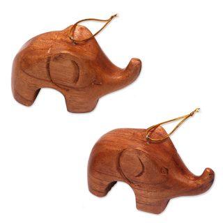 Handmade Pair of Wood Ornaments, Little Brown Elephants (Indonesia)