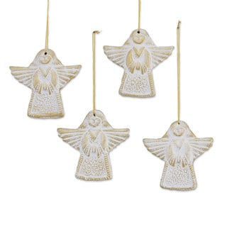Set of 4 Ceramic Ornaments, Flying Messengers (India)
