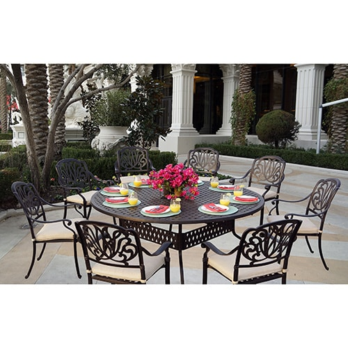 Sicily 9-Piece Dining Set with Seat Cushions,72 Inch Round Dining ...