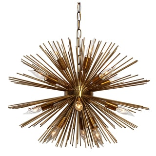 Sunburst 12 Light Brass Chandelier