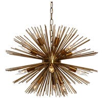 Sunburst 12-light Brass Chandelier