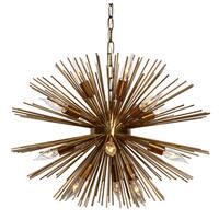 Sunburst 12-light Brass Chandelier - N/A