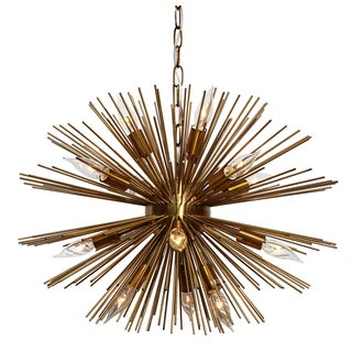 Sunburst 14-light Brass Chandelier