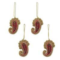 Handmade Set of 4 Beaded Ornaments, Brilliant Paisleys (India)