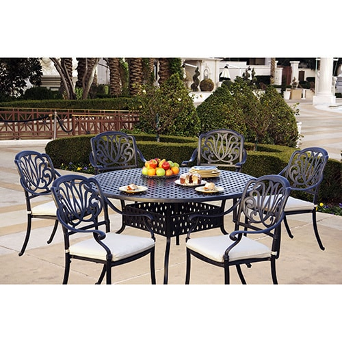 Sicily 7 Piece Dining Set With Seat Cushions 60 Inch Round Table
