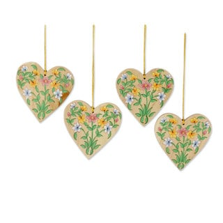 Set of 4 Wood Ornaments, Holiday Hearts (India)