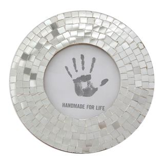 Glass Mosaic Photo Frame, Silver Halo (India)