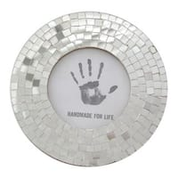 Handmade Glass Mosaic Photo Frame, Silver Halo (India)