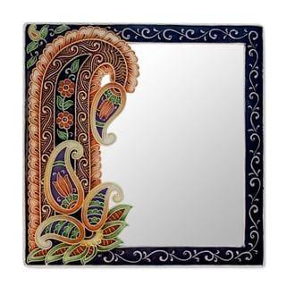 Handmade Mirror, 'Precious Paisley' (India)