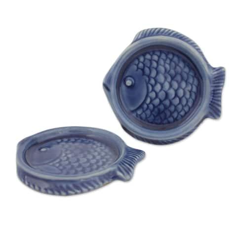 Pair of Celadon Ceramic Coasters, Ocean Blue Fish