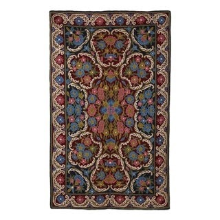 Handmade Wool Chain Stitch Rug, Kashmir Festival Ii (India)