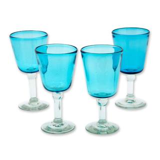 Handmade Set of 4 Blown Glass Wine Glasses, Caribbean Blue (Mexico)