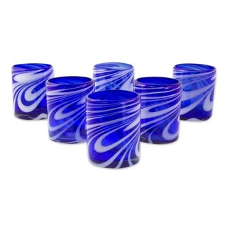 Set of 6 Blown Glass Rock Glasses, Whirling Cobalt (Mexico)