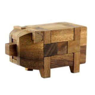 Handmade Wood Puzzle, Piggy Puzzle (Thailand)