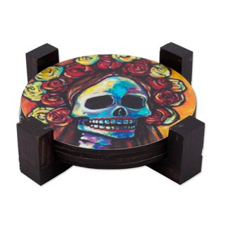 Set of 4 Decoupage Wood Coasters, Festive Catrina (Mexico)