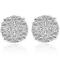 18k White Gold 1 ct TDW Diamond Cluster Illusion Princess Cut Round Studs