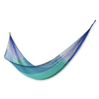 Handmade Cotton Blend Hammock, 'Cool Maya' (Mexico)