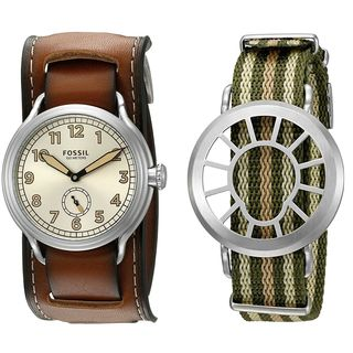 Fossil Men's LE1040 'Trench Limited-Edition' Extra Canvas Strap Brown Leather Watch