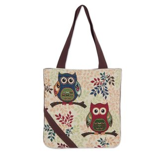 Cotton Blend Tote Bag, 'Playful Owls' (Thailand)
