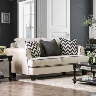 Macie Contemporary Premium Off-White Fabric Chevron T-cushion Loveseat by Furniture of America