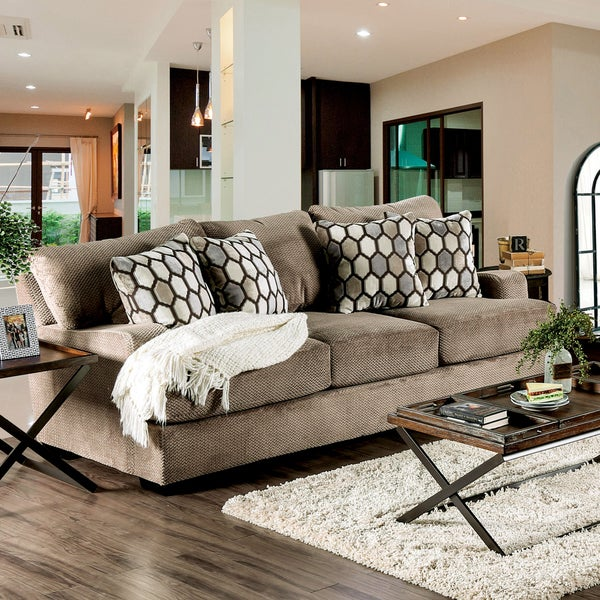 Sheila Transitional Modern English Style Velvet Sofa by Furniture of America