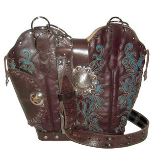 Brown and Green Conceal Carry Cowboy Boot Handbag