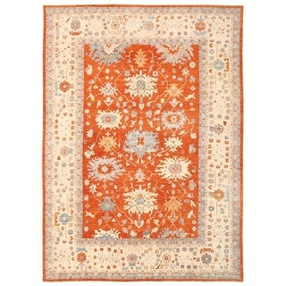 Herat Oriental Afghan Hand-knotted Vegetable Dye Oushak Wool Rug (13'7 x 18'10)