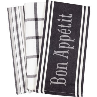Bon Appetit Black and White Cotton Kitchen Towel (Set of 3)
