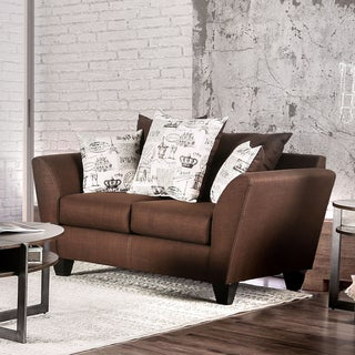 Werner Contemporary Fabric Chocolate Loveseat by Furniture of America