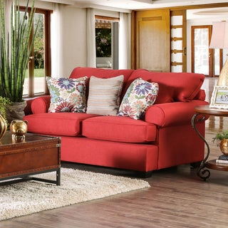 Tuscan Transitional Red Premium Fabric Loveseat by Furniture of America