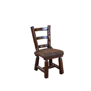 Rustic Red Cedar Log Dining Chair- Stained- Upholstered Seat - Amish