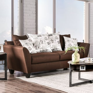 Werner Contemporary Fabric Chocolate Sofa by Furniture of America