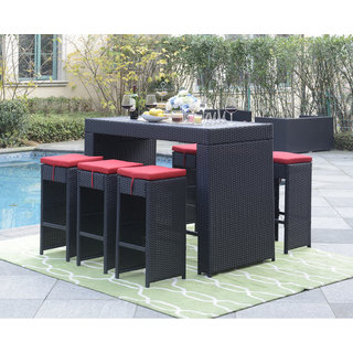 DG Casa Grey/Red Polywood Steel Miami Table and 6 Barstool Set