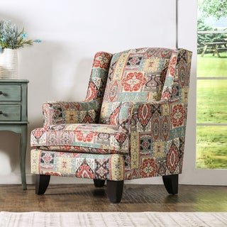 Kalene Contemporary Textured Chenille Fabric Multi-Color Print Chair by Furniture of America