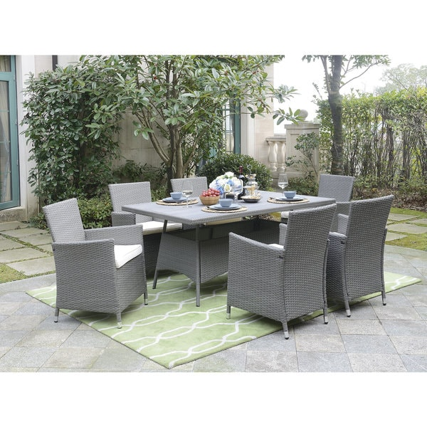 Shop Dg Casa Aventura Beige Poly Resin Steel Table And 6 Chairs