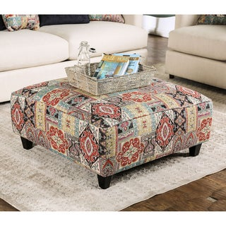Kalene Contemporary Textured Chenille Fabric Square Ottoman by Furniture of America
