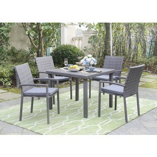 DG Casa Daytona Grey Steel And Wicker Table And 4 Chairs Dining Set