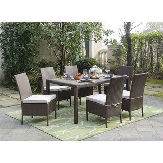 DG Casa Lauderdale Grey Wicker Table 6 Chairs Dining Set