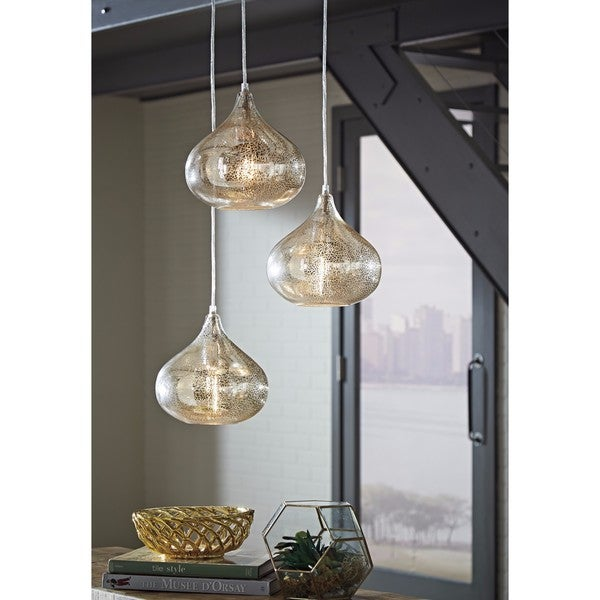 Signature Design By Ashley Jodoc Silver Finish Gl Pendant Lights