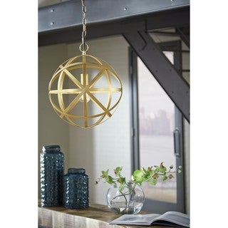 Signature Design by Ashley Jedidiah Gold Finish Metal Pendant Light