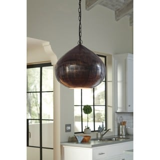 Signature Design by Ashley Aminali Antique Brass Finish Metal Pendant Light