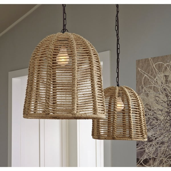 Shop signature design by ashley jamarion natural rope pendant light signature design by ashley jamarion natural rope pendant light aloadofball
