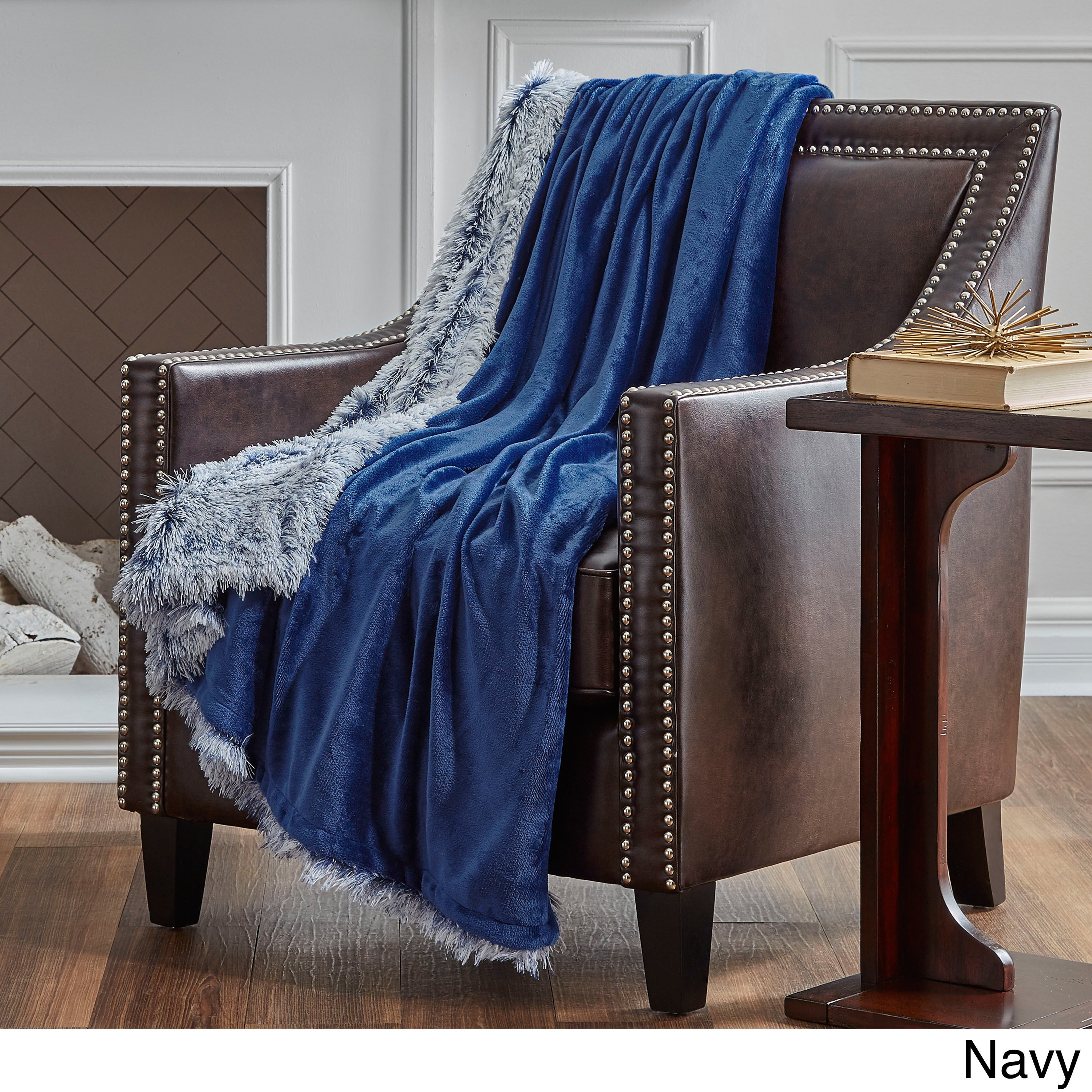 Serta Reversible Frosted Oversized Throw (Navy), Multi (P...
