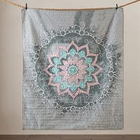 Intelligent Design Medallion Grey Quilted Throw